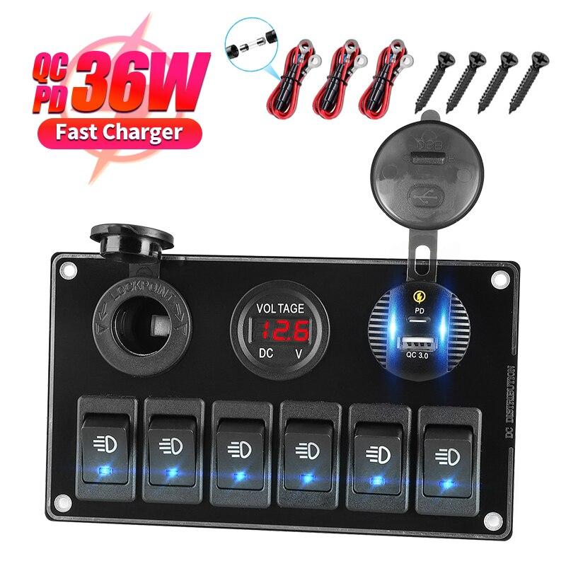 6 кнопок ВКЛ./ВЫКЛ. Панель реактивного переключателя 12-24 В автомобильные аккумуляторы двойное зарядное устройство USB QC3.0 и Type-C прикуриватель ...