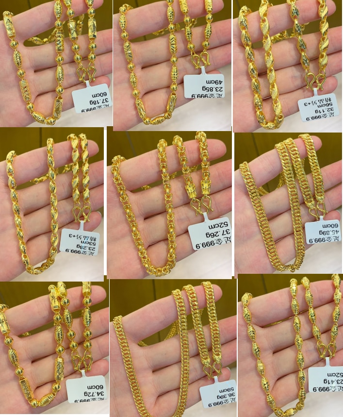 HX 24K Pure Gold Necklace Real AU 999 Solid Gold Chain Brightly Simple Upscale Trendy Classic  Fine Jewelry Hot Sell New 2020