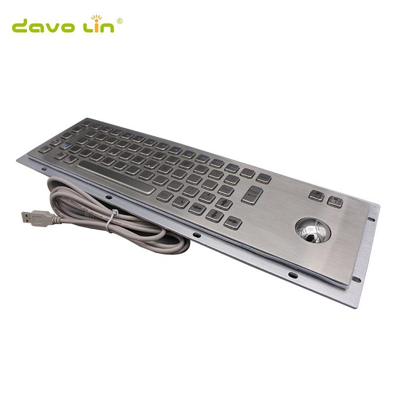 Изготовленная на заказ 67 ключей промышленная компьютерная Водонепроницаемая металлическая клавиатура из нержавеющей стали с трекболом для самостоятельного обслуживания киоска