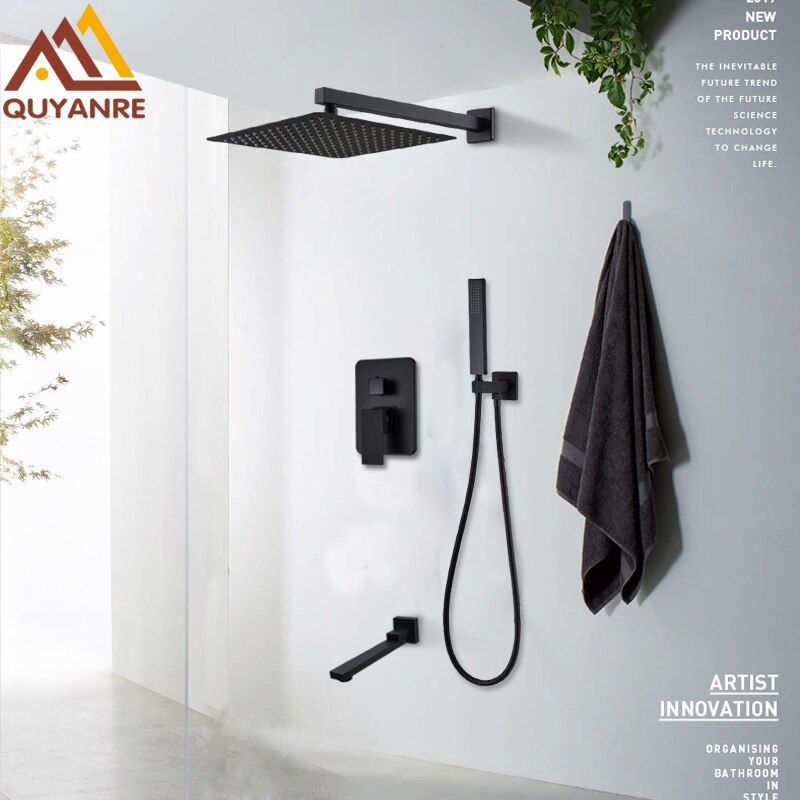 Juego de grifos de ducha Quyanre negro mate, Sistema de ducha oculta para lluvia, cascada, montaje en pared, mezclador de ducha, conjunto combinado de Ducha