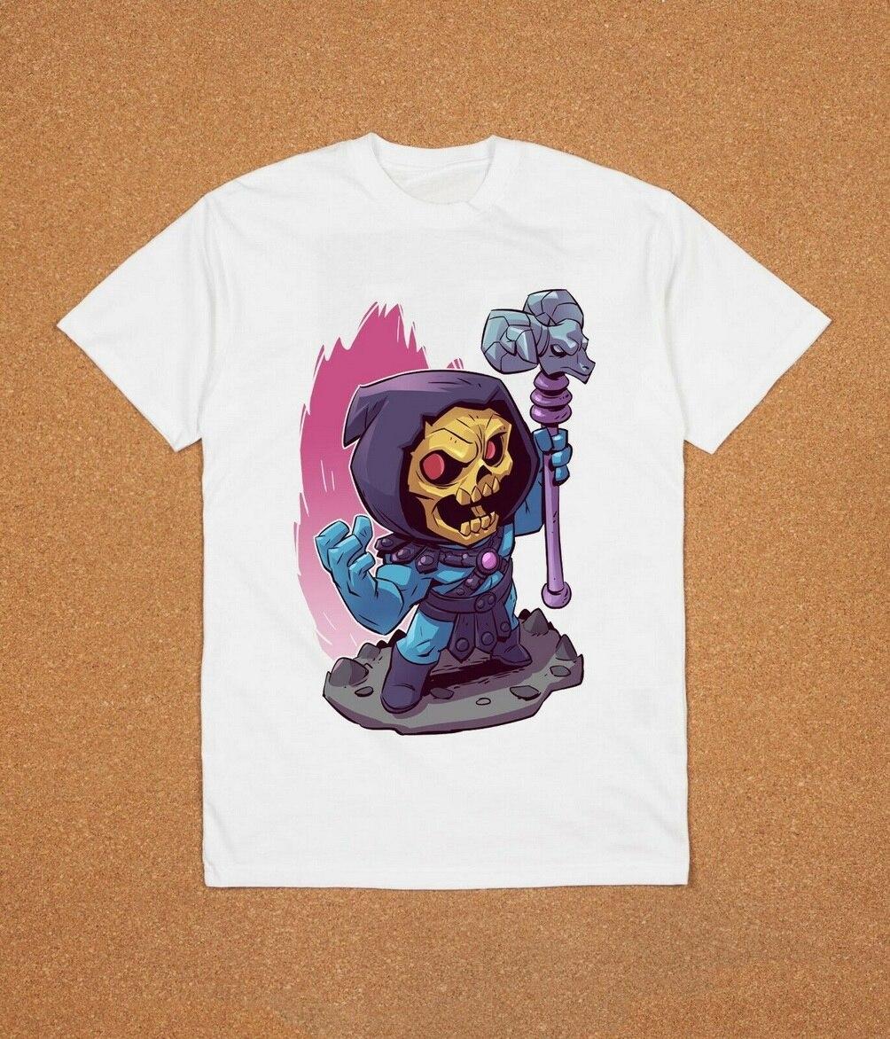 Skeletor He-Man lo llamare dibujos animados Chibi camiseta blanca de dibujos animados Sx26 camiseta de calidad Superior