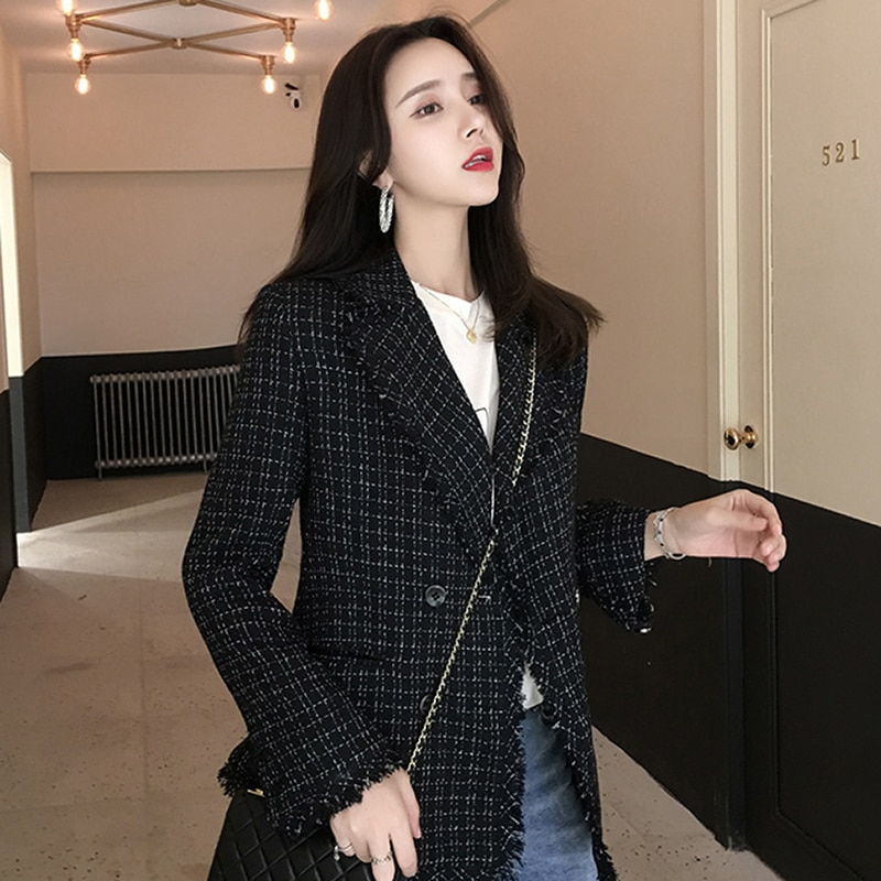 Women Blazer Casual Office Plaid Jacket Autumn Notched Collar Long Sleeve Tweed Suit Ladies Jackets Double Breasted Blazer Coat women solid blazer double breasted jacket women casual notched collar blazer office ladies work suit new fashion outerwear