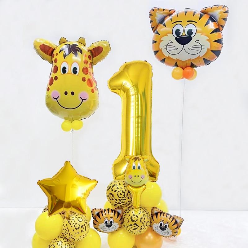 36Pcs Large Animal Head Helium Balloons Giant Gold Number1-9  Baby Shower ballon Jungle Zoo Theme Ki