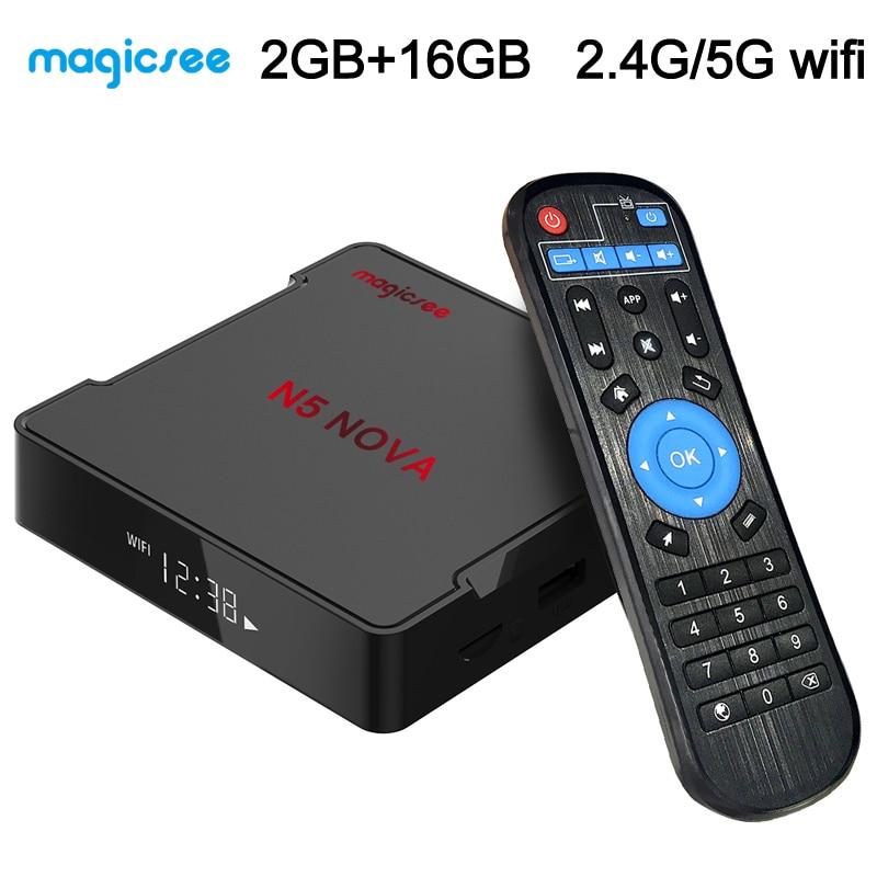 Magicsee-Smart TV Box N5 Nova, Android 9,0, decodificador de señal con wi-fi, 2GB, 16GB, RK3318, Quad Core, reproductor multimedia en Streaming, Mini PC Dual, wi-fi