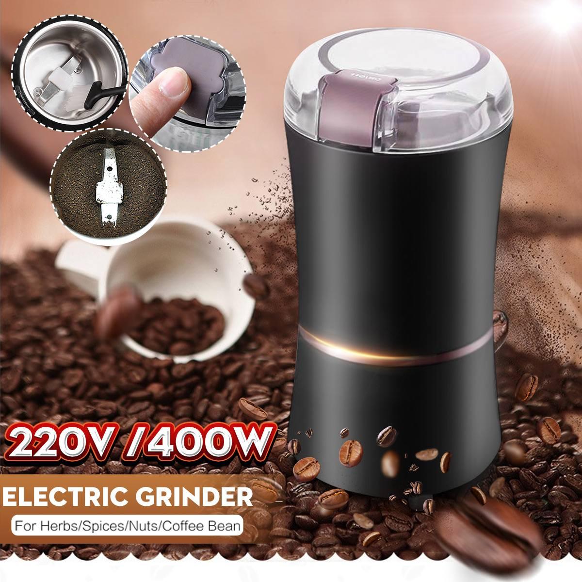 Poderosa 220V 400W Máquina de Feijão Moedor de Café Elétrico Liquidificadores Para Cozinha Home Office Uso Doméstico Cafeteira/especiarias/Porca/Semente