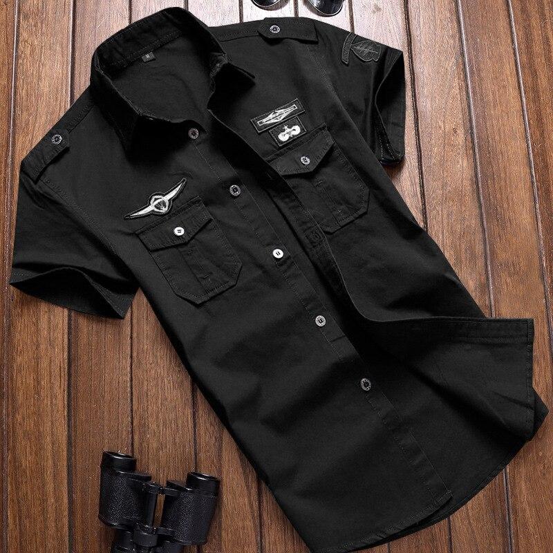 Рубашка в стиле милитари мужские рубашки на каждый день, Стиль модная одежда для мальчиков хлопковая футболка с короткими рукавами в стиле ...