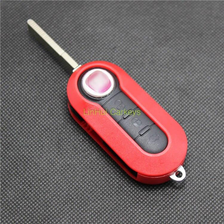 PINECONE для FIAT 500 PANDA PUNTO BRAVO чехол для автомобильного ключа с 3 кнопками нерезанный латунный ключ с дистанционным управлением чистый красный ABS корпус 1 шт.