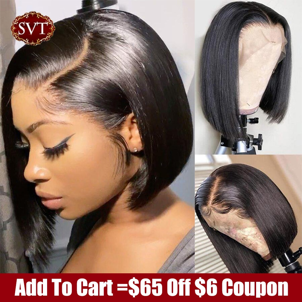 SVT Short Bob Straight 4X4 Lace Closure Wigs PrePlucked Baby Hair Lace Front Human Hair Wigs For Wom