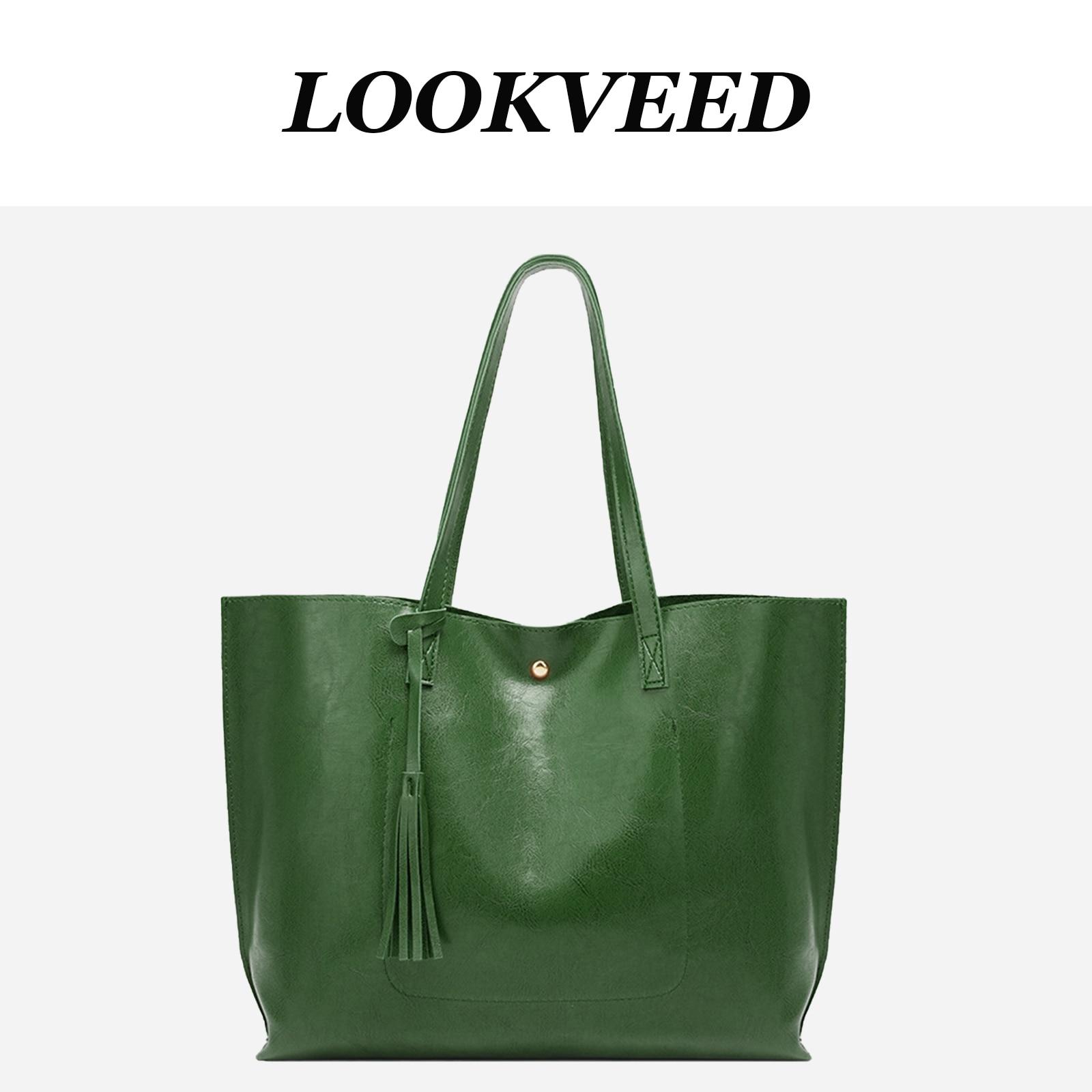 Borsa Tote semplice in ecopelle di design verde di lusso borsa tinta unita nappa borsa grande capacità per donna borsa da spiaggia estiva 2021