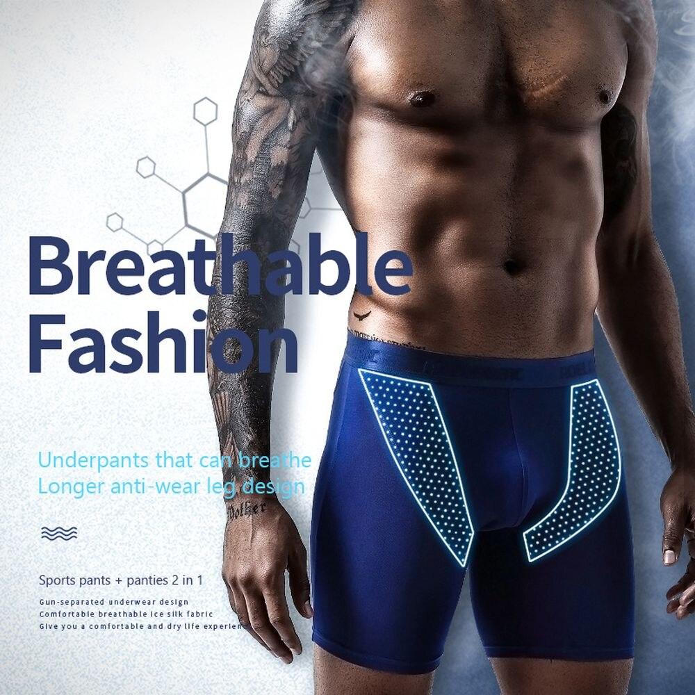 Мужское нижнее белье из ледяного шелка, дышащие сетчатые Удлиненные мужские боксеры брифы, Однотонные трусы