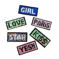 10pcslot flip sided sequins embroidery patches letters clothing decoration girl kiss love diy iron heat transfer applique