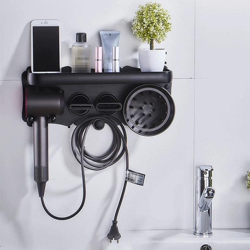 Hair Dryer Wall Mount Holder for Dyson Supersonic Hair Dryer, Punch-Free Hair Dryer Holder Bathroom Storage Rack-Black