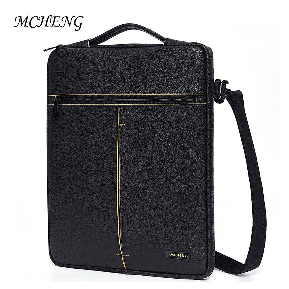 "MCHENG Fashion PU Laptop Sleeve Multi-Use Splashproof Shockproof Laptop Bag For 10"" 13"" 14"" 15.6"" inch Notebook Case"