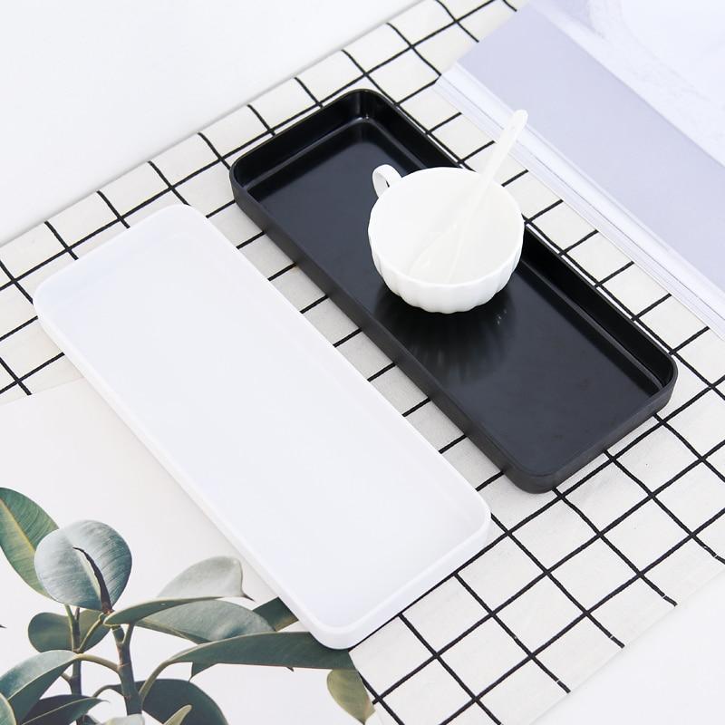 Bandeja pequeña Rectangular bandeja de plástico de té sala de estar taza de agua plato carnoso olla personalidad creativa placa nórdica estrecha