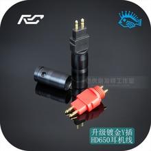 1 paire (rouge et noir) plaqué or prise casque pour SENNHEISER HD650 600 580 broches métal tuyau déchappement bricolage câble casque
