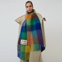 2020 autumnwinter fashion brand new scarf imitates cashmere rainbow plies fringe women warm neck shawl fashion scarf