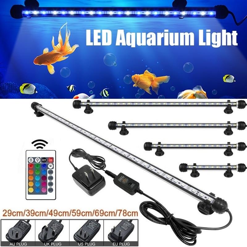19/29/39/49/59/69cm LED Fish Tank Submersible Lights RGB Remote Control Waterproof Aquarium Air Bubble Light US/AU/UK/EU Plug