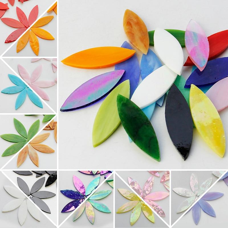 Мозаичная плитка в форме листьев из витражного стекла, 20 шт., разные цвета