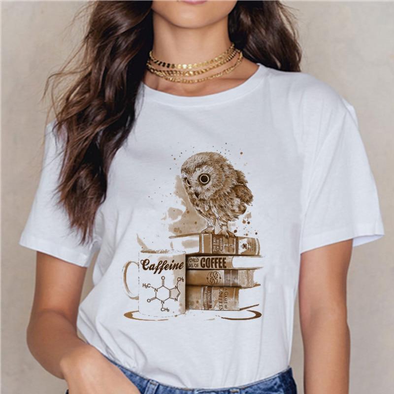 Винтажная Дизайнерская футболка с совой, летняя модная женская футболка, футболка с принтом кофейной совы, повседневные топы, милые женские футболки