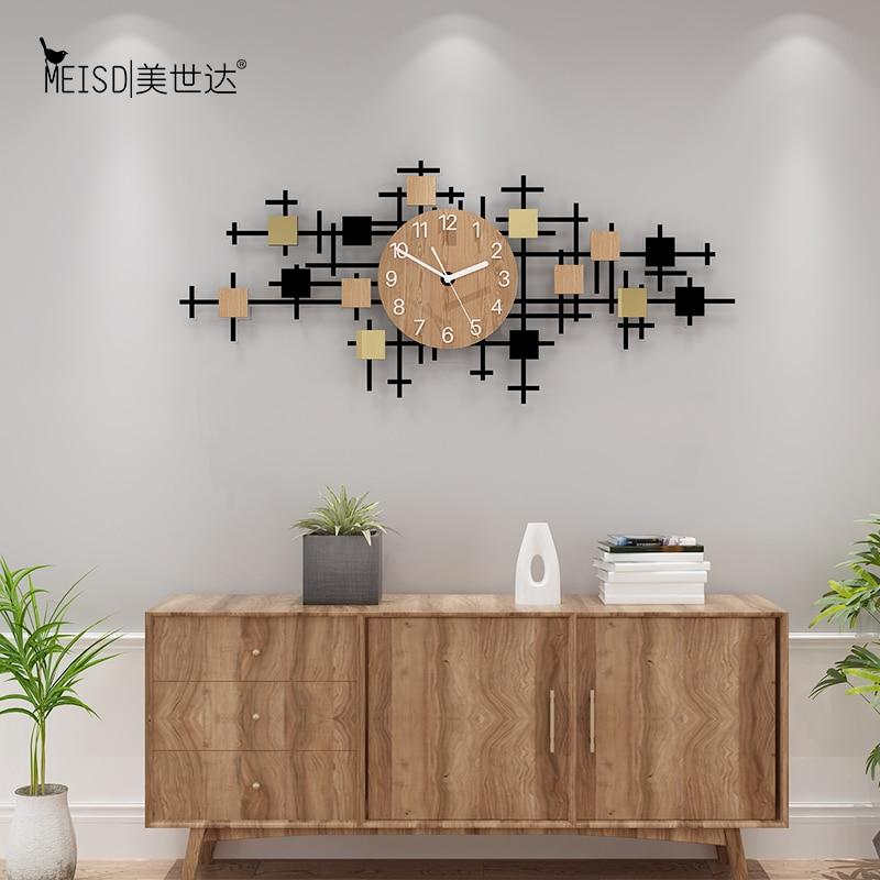 MEISD Quality Wood Acrylic Wall Clock Large Decorative Watch Modern Design Living Room Home Decor Quartz Horloge Free Shipping