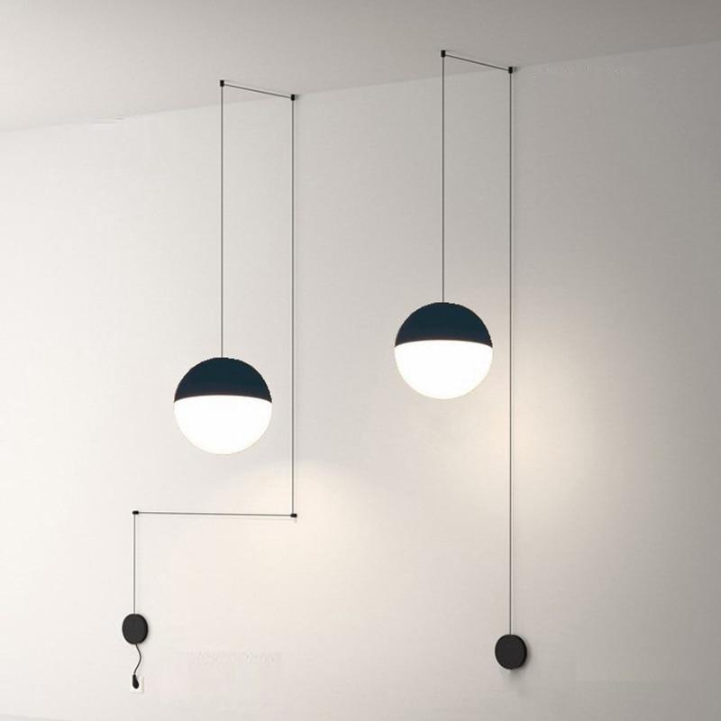 LukLoy السرير الحديثة قلادة مصباح LED سلك تعليق أضواء الثريا لوفت ديكور المطبخ جزيرة كرة زجاجية مصابيح مع الشماعات