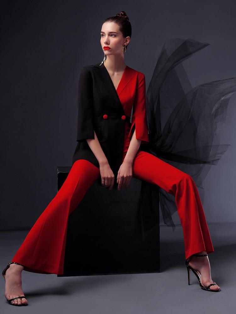 High quality women jumpsuit women suit  office Lady Outfits Femme Sets  Jacket Pant with veil