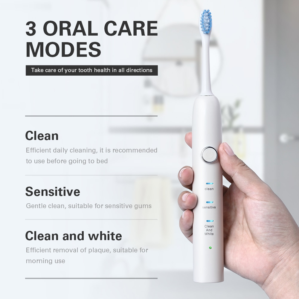 Buy 1 Get 2 Free Electric Toothbrush USB Rechargeable Travel Waterproof Adults Toothbrush  Acoustic Wave Oral  Toothbrush enlarge