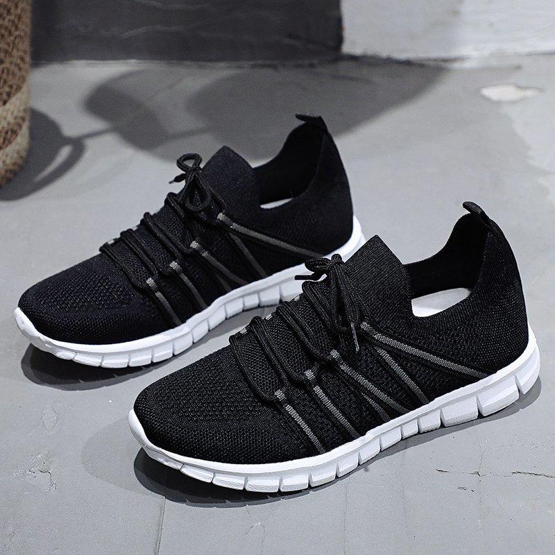 Women Flat Slip on Black Shoes Woman Lightweight Walking Sock Sneakers Summer Casual Chaussures Femme Tenis Loafers Plus Size 43