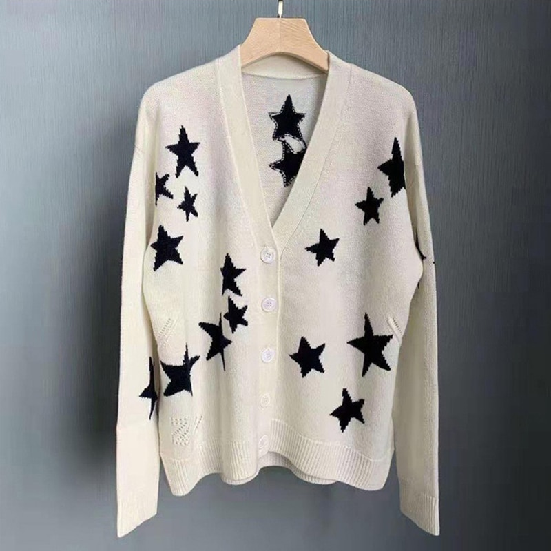 Rowling Autumn Winter Woman 100% Cashmere Sweater Black Stars V-Neck Drop Shoulder Oversized Single Breasted Cardigan Tops 2021 enlarge