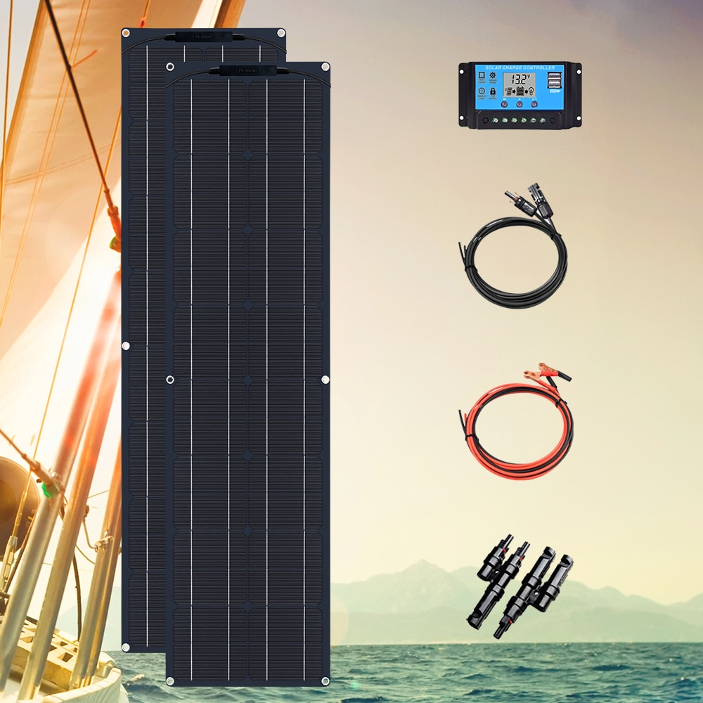 50w 12v Flexible Solar Panel Kit 24v 2pcs High Efficiency Charge for Camping, RVs, Yachts, Street Lights