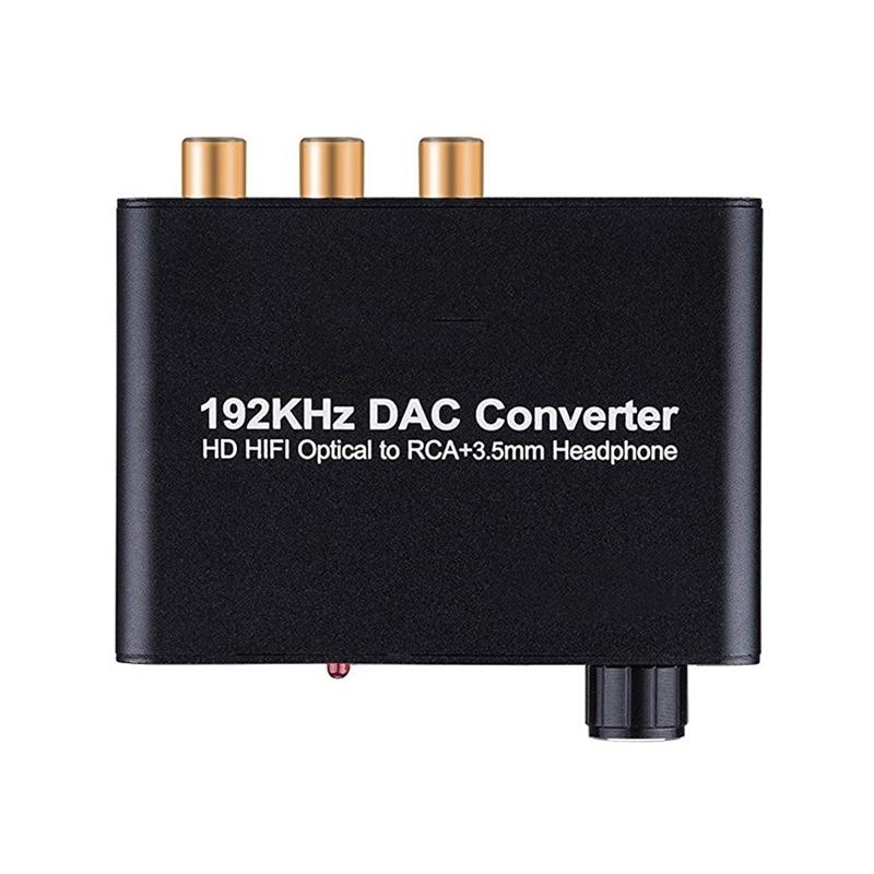Convertidor de Digital a analógico, 192kHz DAC apoya control de volumen Digital Coaxial SPDIF a estéreo analógico L/R RCA de Audio Jack de 3,5mm #5