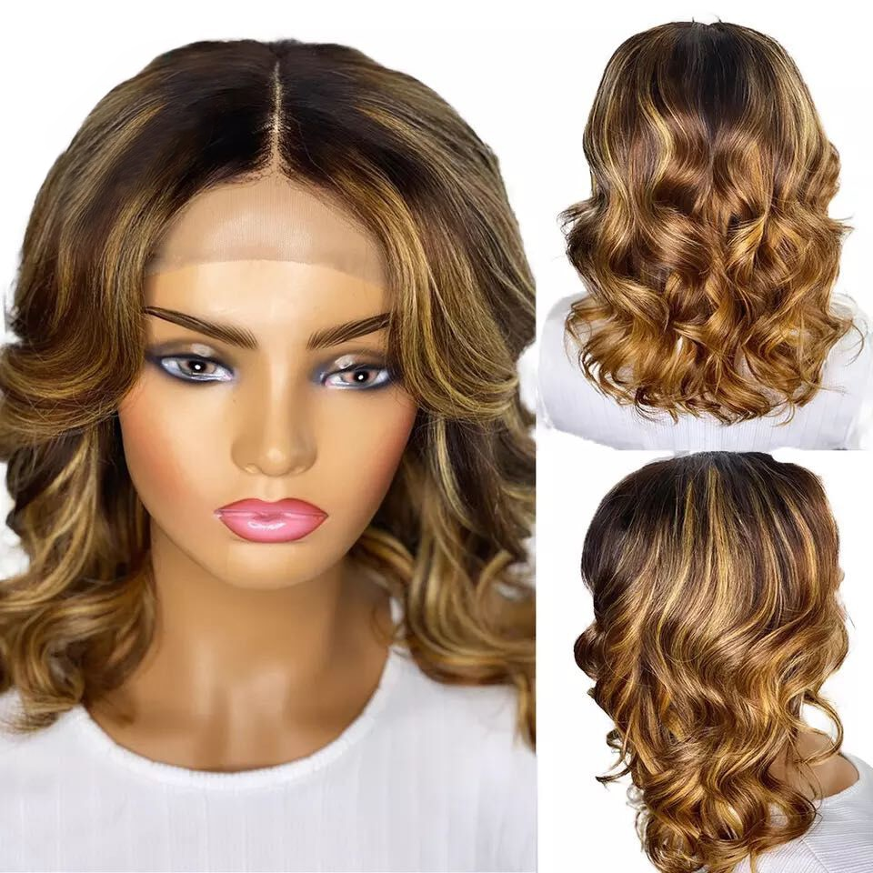 4/27 Highlight Short Bob Wig Ombre Body Wave 13x4 Lace Frontal Wig Transparent Lace Front Human Hair Wigs 4x4 Hd Lace Closure