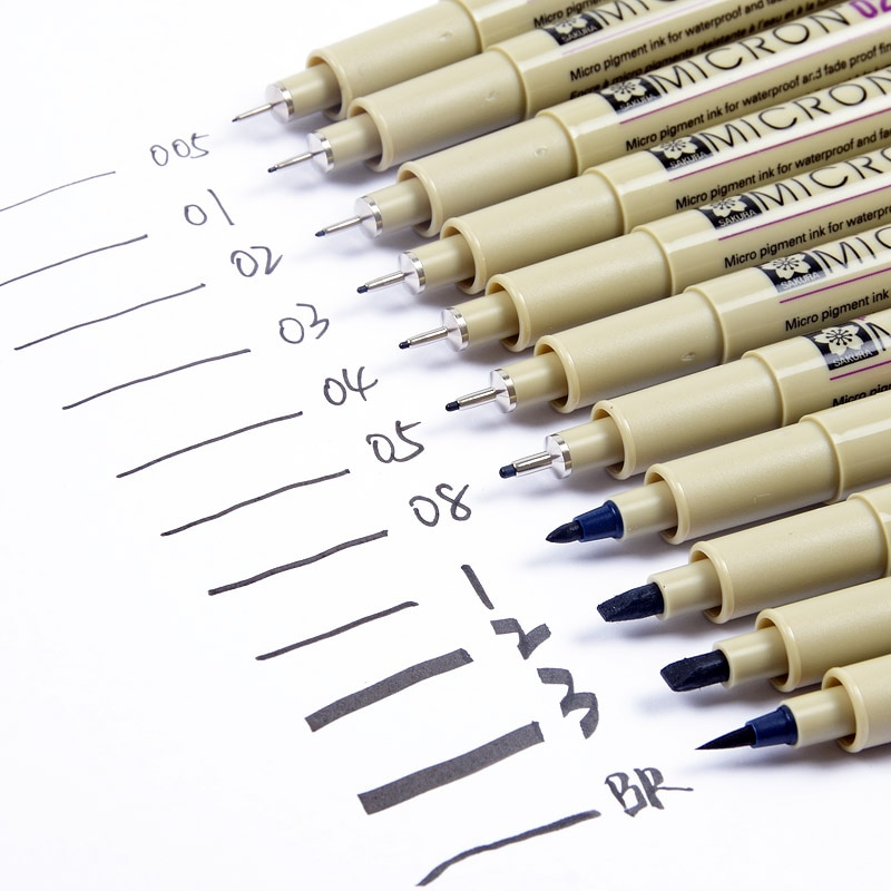 3 uds. Rotulador Sakura negro, pluma de dibujo, Micron, pluma de aguja, pincel delineador para Diseño de Manga, dibujo, cómic, 13 tamaños diferentes