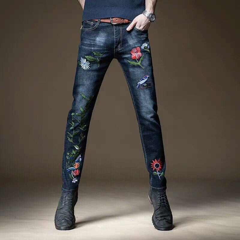 Envío Gratis, novedad de 2020, pantalones ajustados bordados para hombre, estilo chino, tendencia clásica, pantalones vaqueros Casuales