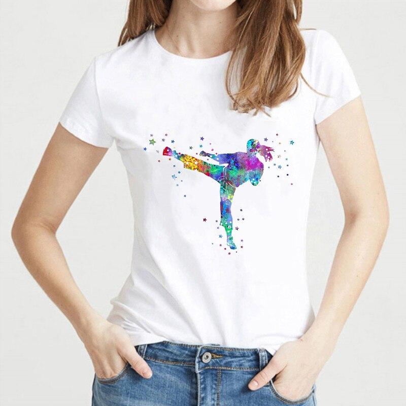 Female Streetwear Tops New Women T Shirt Fashion Popular Style T-shirt Femme Watercolor Karate Fighter Girl Print Tshirt