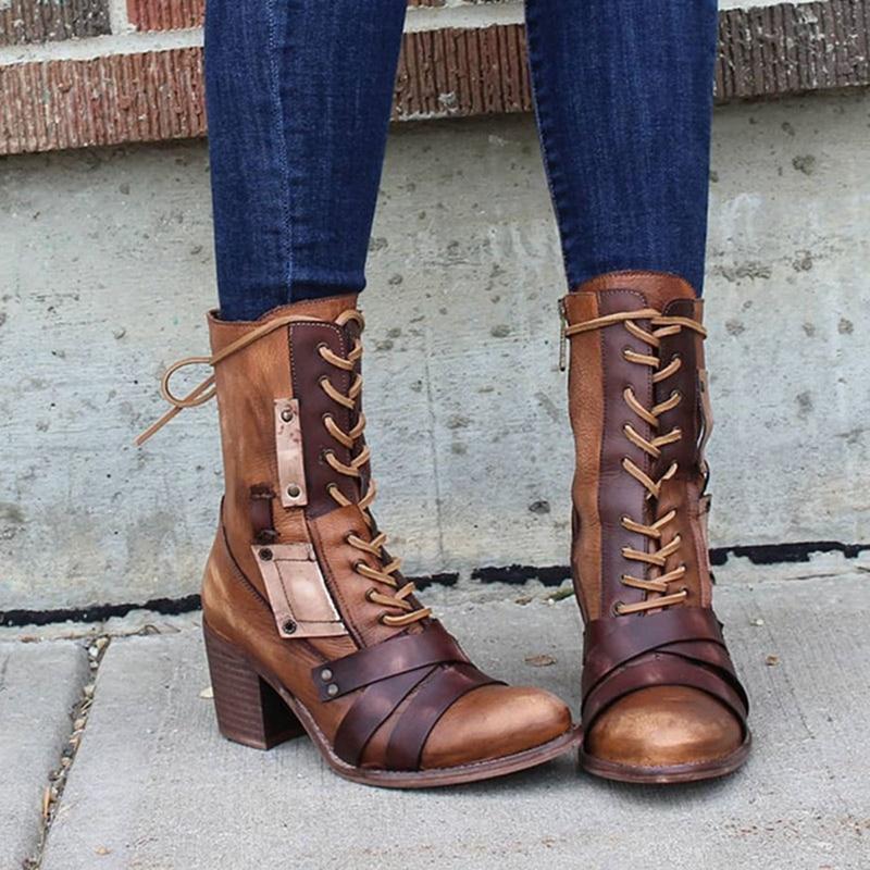 Модные Новые Женские ботинки в ретро-стиле из искусственной кожи (полиуретан), высота до середины голени, ботинки; Женская обувь на низком каблуке; Однотонная Цвет квадратный каблук Женская обувь плюс Размеры Zapatos Muje