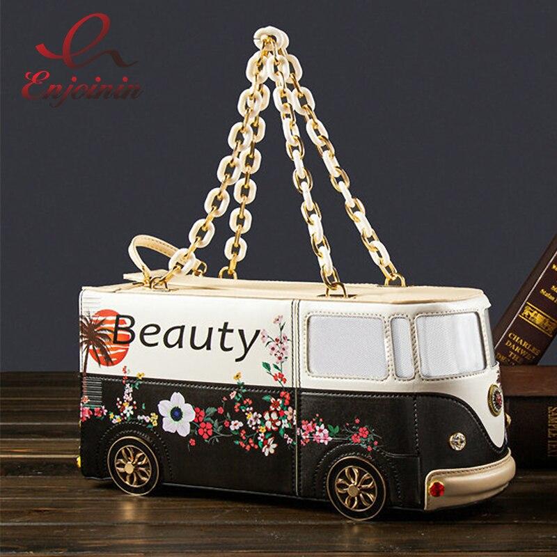 جديد حافلة نمط حقيبة يد للنساء الكرتون طباعة المحافظ شاحنة كيس مزموم سلسلة الموضة المحافظ الإناث الطرف حقيبة صغيرة بولي Leather الجلود