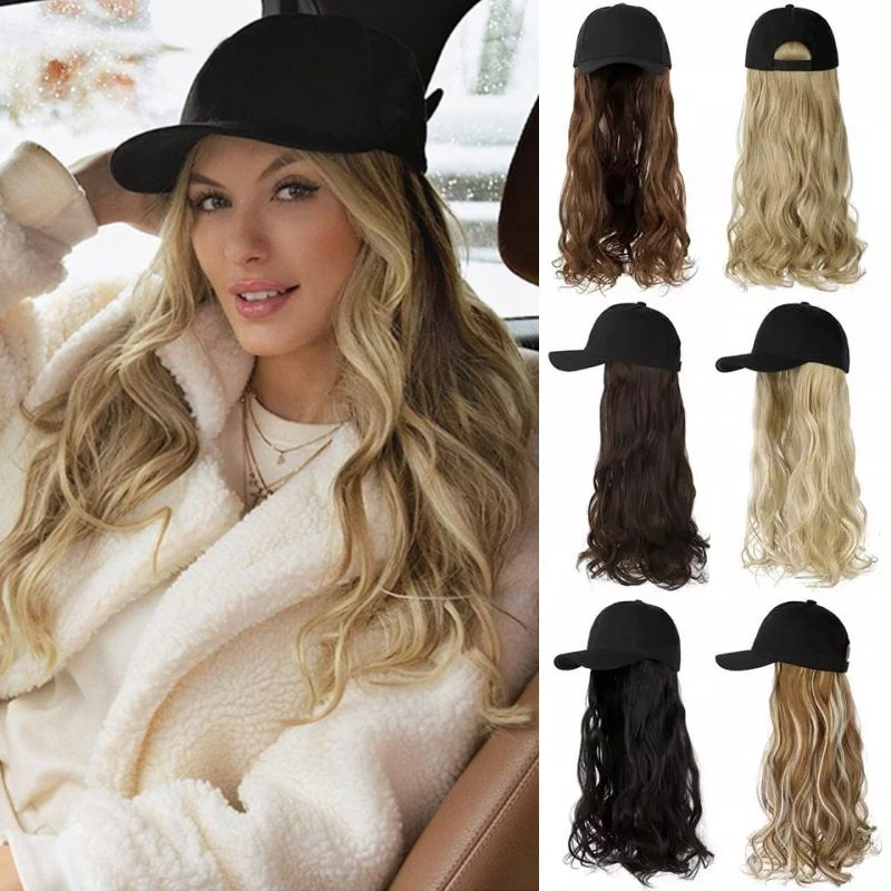 SHANGZI Long Wavy Synthetic Baseball Cap Hair Wig Natural Black Wigs Naturally Connect Synthetic Hat Wig Adjustable For Girl
