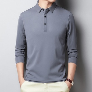 New Arrival Spring Autumn Casual Men's T-shirt Long-Sleeved Pure Color Cotton Business T-shirt Turn-down Collar Tshirt Men 4XL