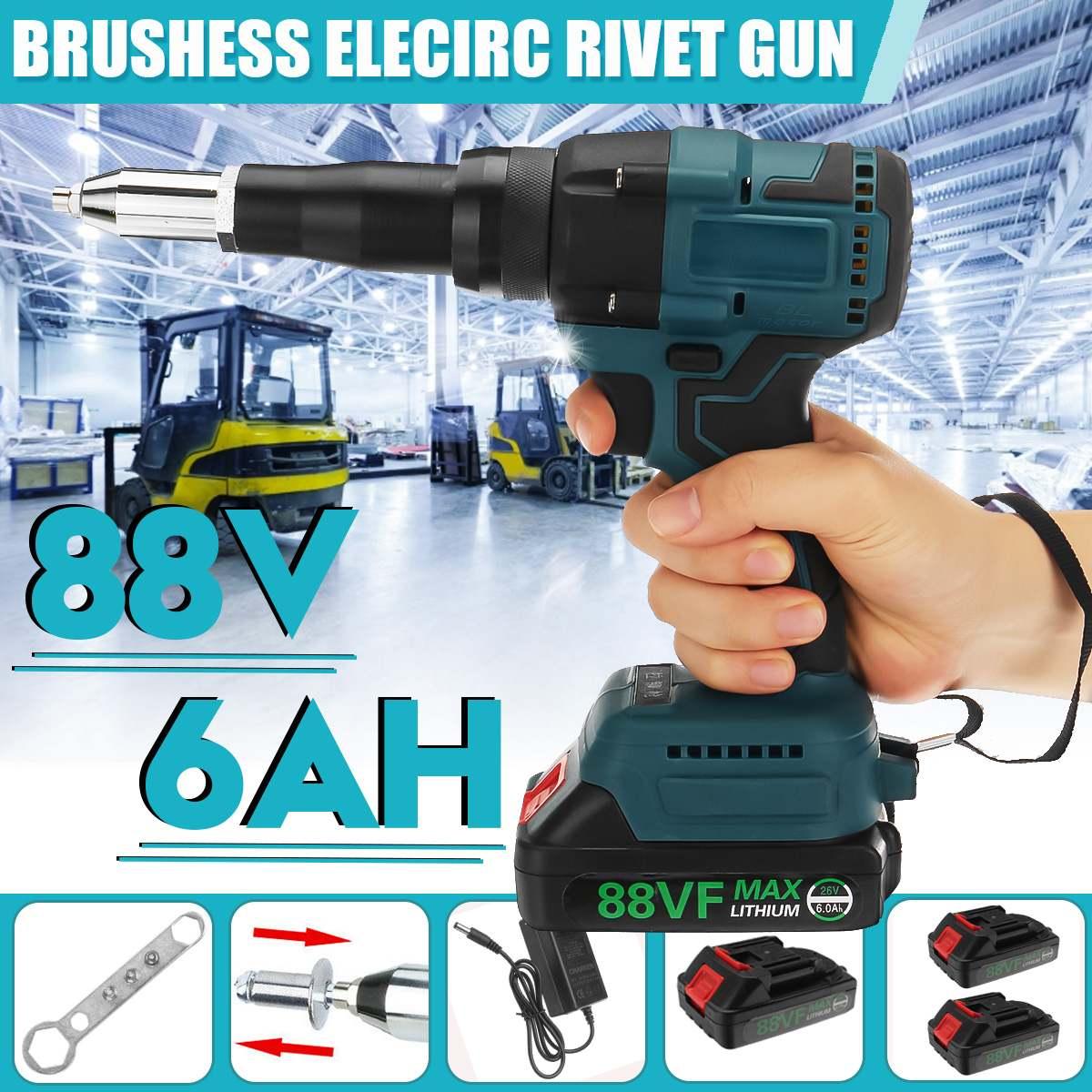 88V Brushess Electric Rivet Gun Cordless Rivet Nut Gun Drill Insert Riveting Tool With LED Light 1/2PC Battery Kit 3.2-4.8mm