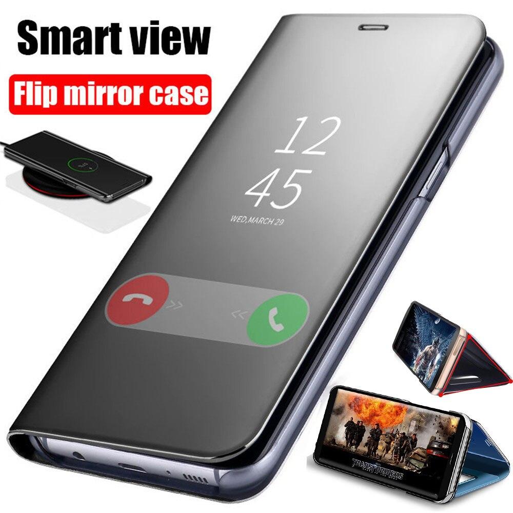 Espejo inteligente caso de tirón para Samsung Galaxy S10 Lite S9 S8 S7 S6 borde A8 A9 A7 A6 Plus 2018 A10 A20 A30 A40 A50 A80 A90 A70 cubierta