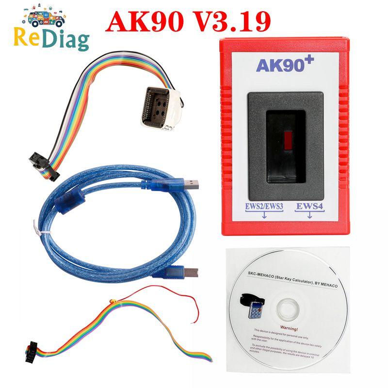 Free Shipping AK90 For BMW V3.19 AK90+ OBD2 Car Key Programmer for BMW EWS from 1995-2005 AK90 Key P