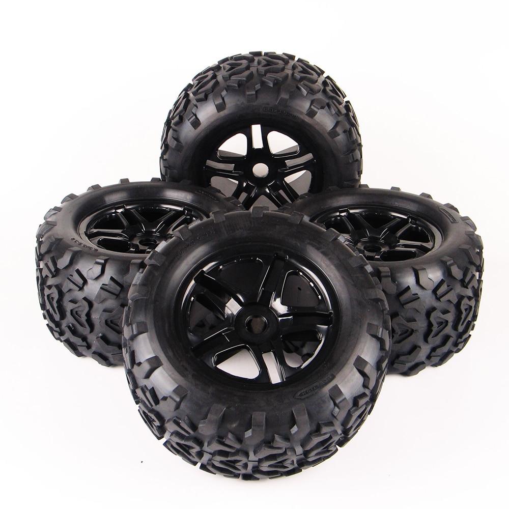 RC Car Off Road 1:8 Tires Rubber Tyre Rim Wheel Set 4Pcs/Set  For Monster Truck Bigfoot Summit HPI 17mm HEX enlarge
