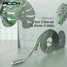 ROCK 2.4A Cable USB para iPhone X XS X MAX XR 7 8 plus Carga Rápida sincronización Cables planos Cable de carga de teléfono móvil de los datos