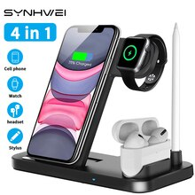 4 in 1 10W Qi Fast Wireless Charger Dock Station Stand For Apple Pencil iWatch AirPods iPhone Phone