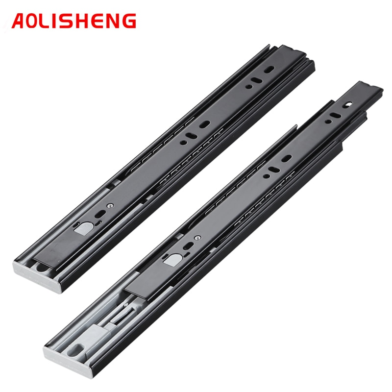 AOLISHENG-rail coulissant noir à trois sections, quincaillerie pour meubles