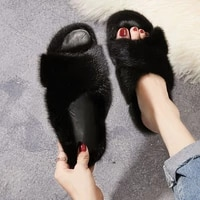 100 natural mink slippers high quality fur slippers womens fur flat slippers