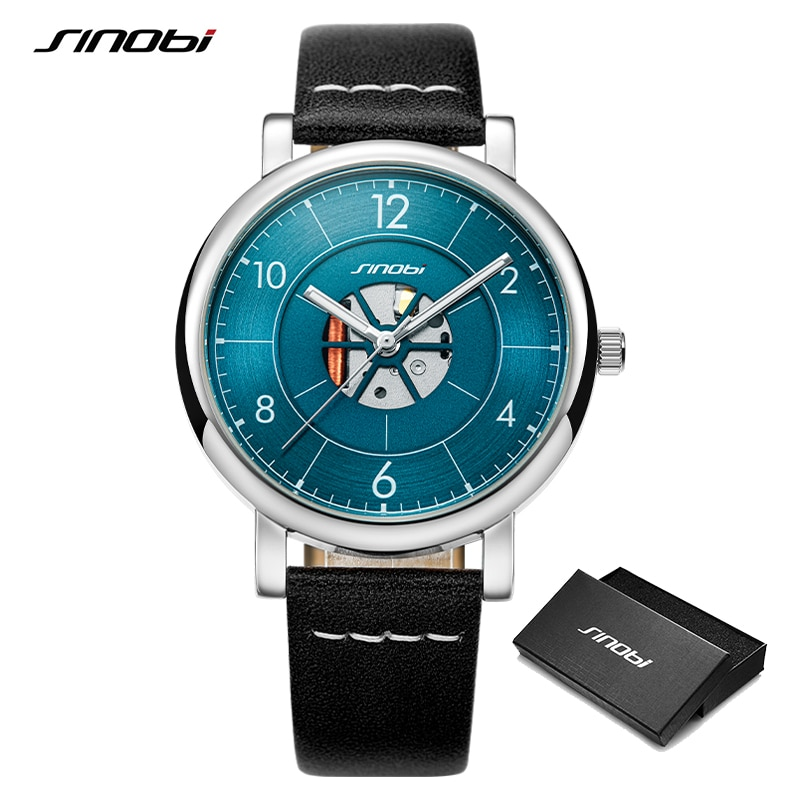 Sinobi Luxury Business New Creative Design Mens Watches Luminous Leather Waterproof Sport Quartz Wrist Smart Watch reloj hombre