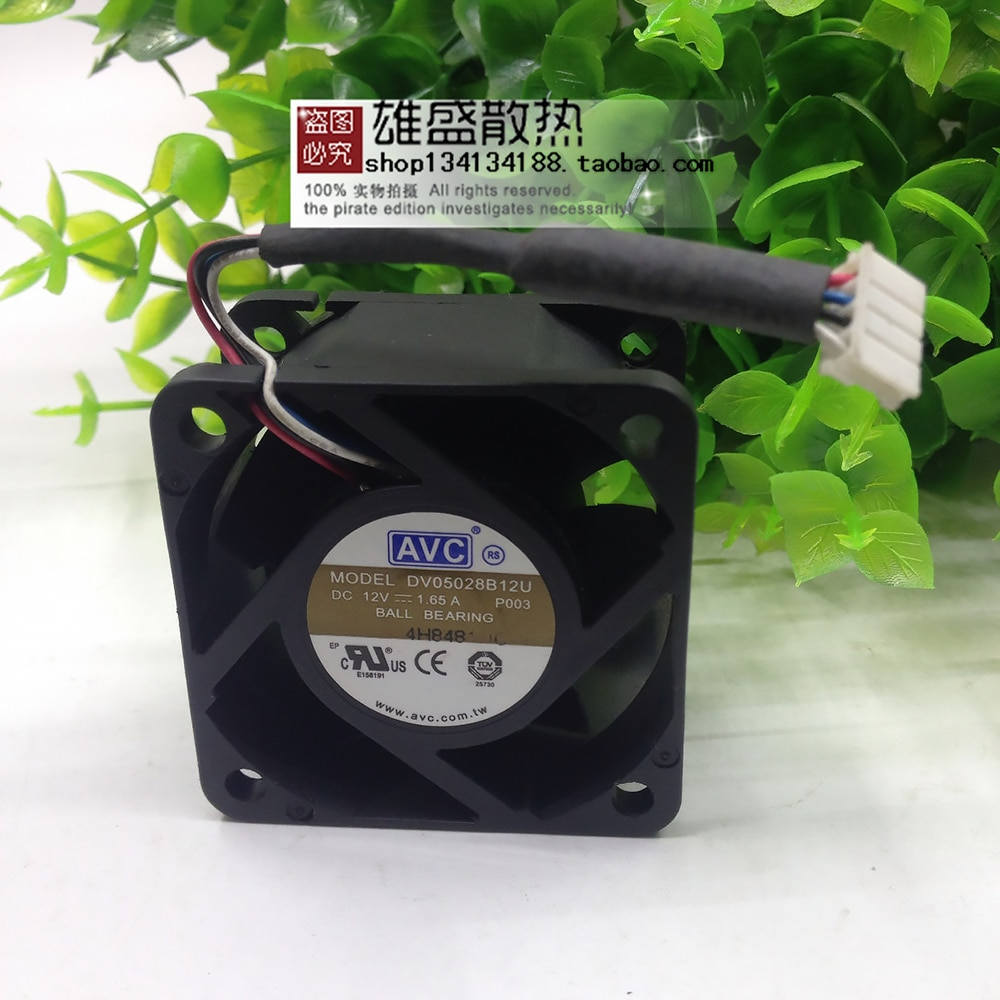 For AVC DV05028B12U 5028 50x50x28mm 5cm DC 12V 1.65A 4 wire server inverter pwm cooling fan