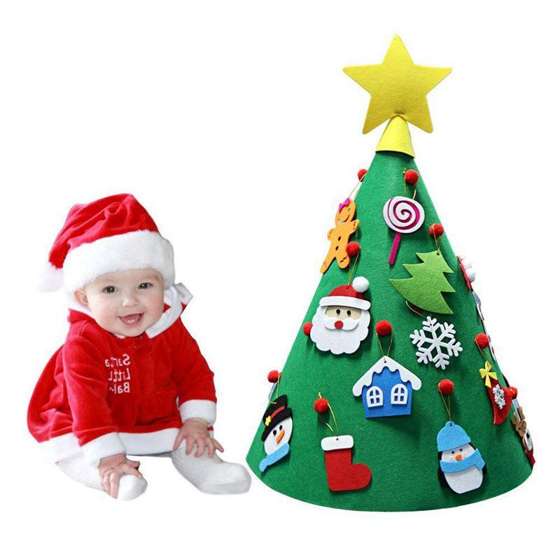 ABFU-3D DIY fieltro árbol de Navidad niño amigable árbol de Navidad adornos colgantes niños regalos de navidad decoraciones para el hogar de Navidad